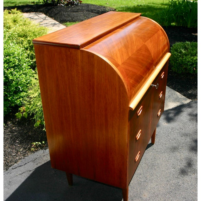 Mid 20th Century 20th Century Danish Modern Rosewood Cylinder Desk For Sale - Image 5 of 13