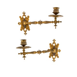 Articulated Brass Victorian Candle Sconces - a Pair