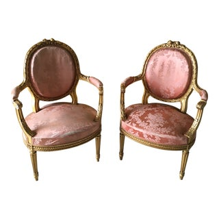 Vintage Gilt French Louis XVI Chairs - a Pair