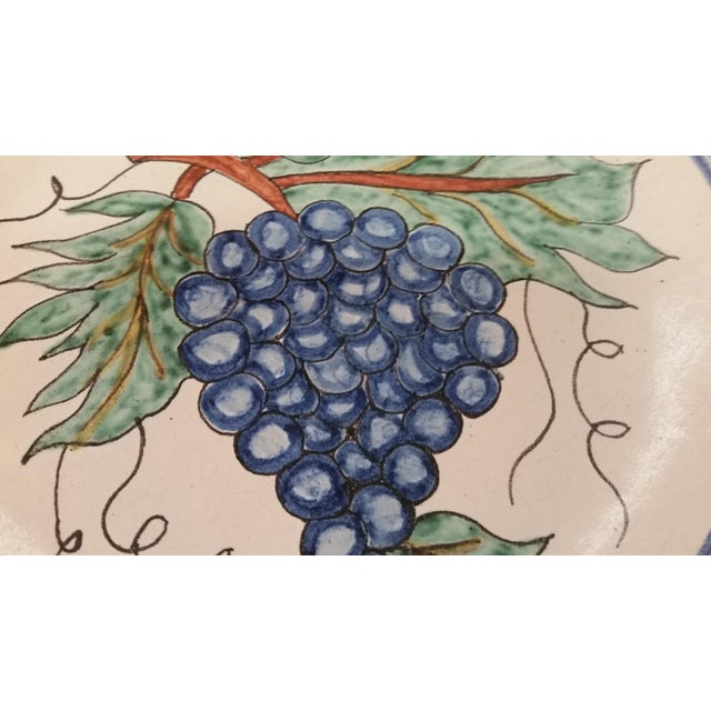 Cottage Vintage Mexican Redware Grapes Decorative Plate For Sale - Image 3 of 5