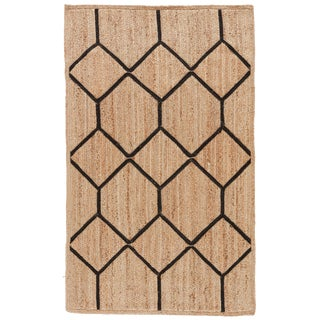 Nikki Chu by Jaipur Living Aten Natural Trellis Beige & Black Area Rug - 5' X 8' For Sale