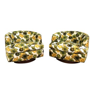 Mid Century W & J Sloane Upholstered Swivel Club Chair - a Pair For Sale