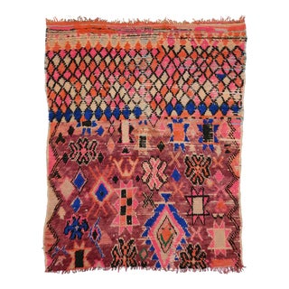 Vintage Berber Moroccan Rug with Modern Tribal Style in Hot Pink For Sale