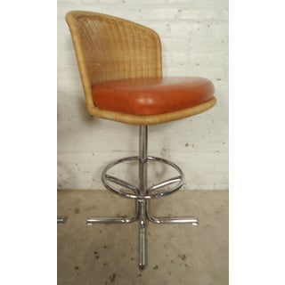 Three Mid-Century Chrome and Wicker Barstools by Daystom Preview