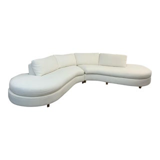 1990s Vintage Monumental Serpentine Two Piece Sofa For Sale