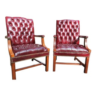 Late 20th Century Oxblood Leather Chairs - a Pair For Sale
