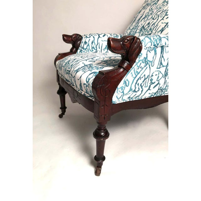 Late 19th Century Late 19th Century Victorian Lounge Chair With Carved Dog Head Armrests For Sale - Image 5 of 13