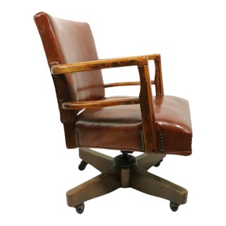 Art Deco Mid Century Swivel Desk Office Chair by Nathan For Sale