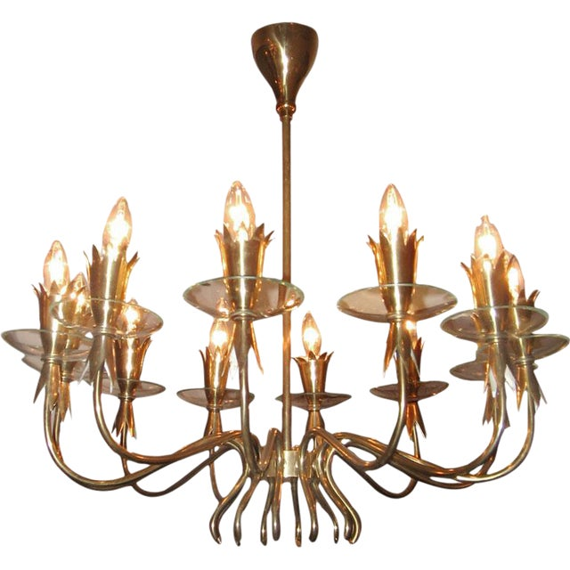 Fontana Arte Twelve Light Brass and Crystal Chandelier Italy circa 1940 For Sale