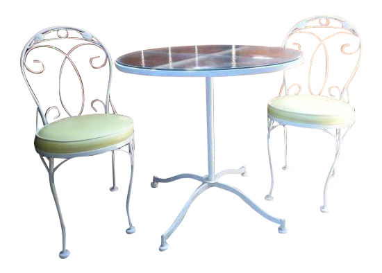 Vintage Meadowcraft White Wrought Iron Bistro Table \u0026 Chairs- Set of 3 | Chairish  sc 1 st  Chairish & Vintage Meadowcraft White Wrought Iron Bistro Table \u0026 Chairs- Set of ...