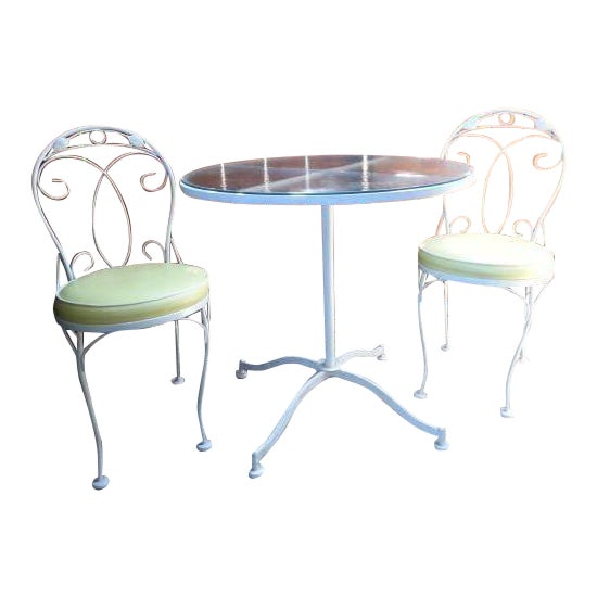 Vintage Meadowcraft White Wrought Iron Bistro Table & Chairs- Set of 3 - Image 1 of 6