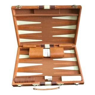 Vintage Leather Boxed Backgammon Board Game For Sale