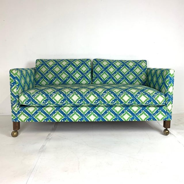 Stunning pair of 1950s Parsons or Tuxedo style settees with luxurious heavy textured upholstery in a stunning lattice...
