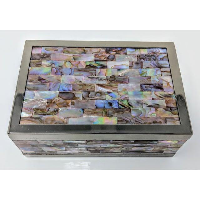 2010s Jonathan Adler Inspired Polish Gun Metal & Abalone Shell Box For Sale - Image 5 of 12