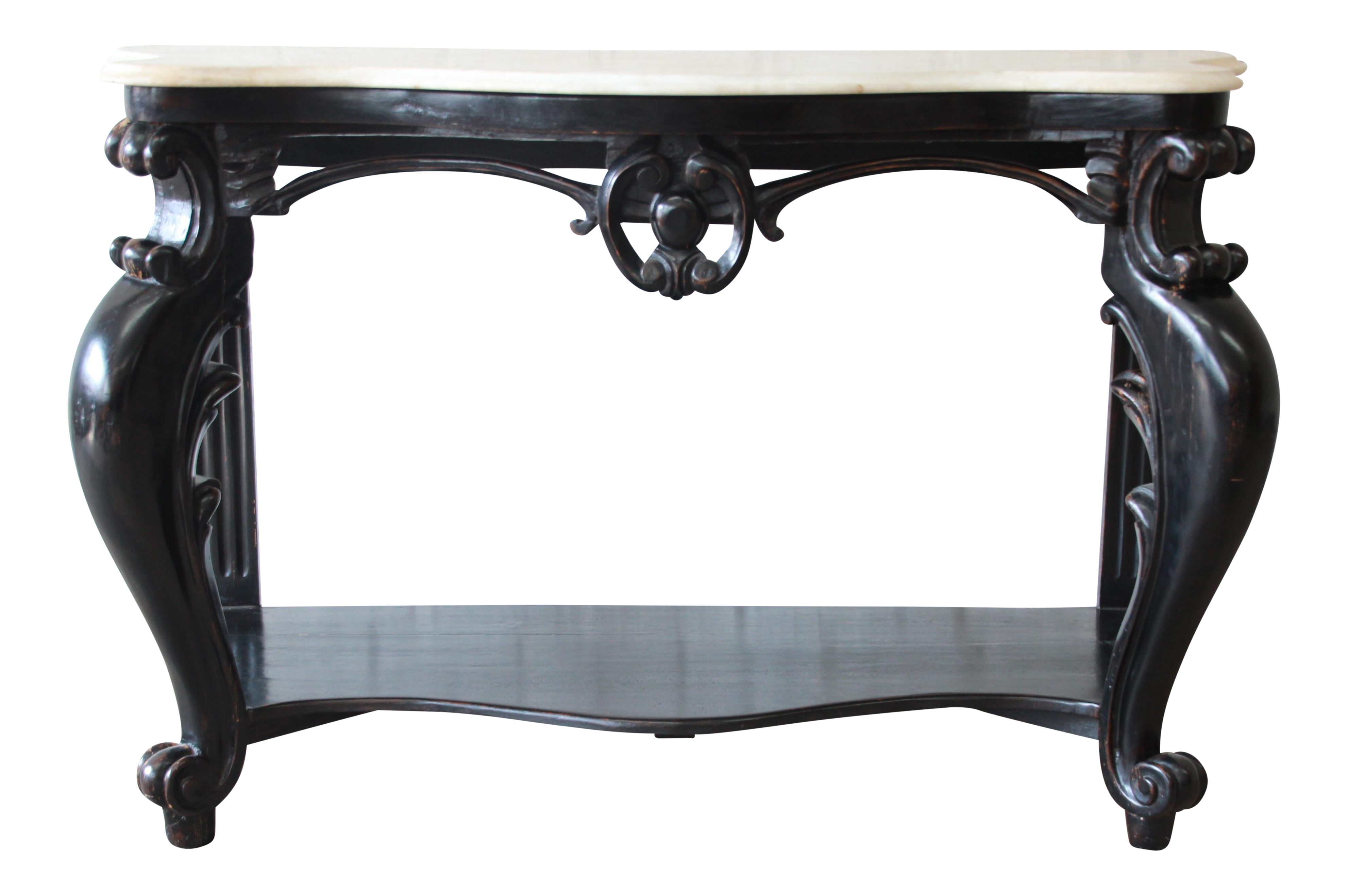 Early 19th Century Ebonized French Marble Top Console Table