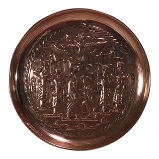 Mid-Century Hanging Etched Copper Plate For Sale