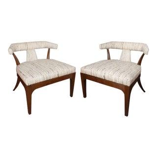 Vintage Walnut Klismos Slipper Chairs Reupholstered in Unused Vintage Fabric For Sale