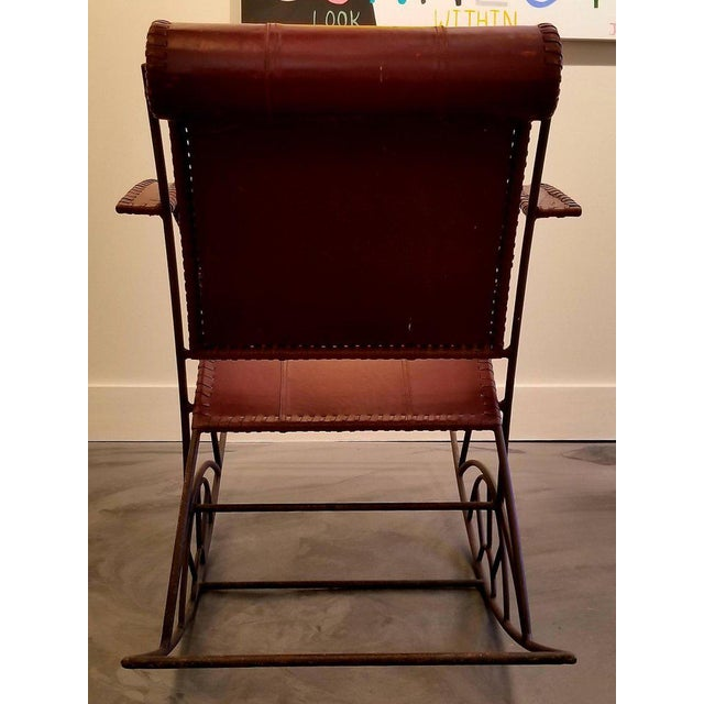 Mid 20th Century Industrial Iron and Leather Rocker For Sale - Image 5 of 13