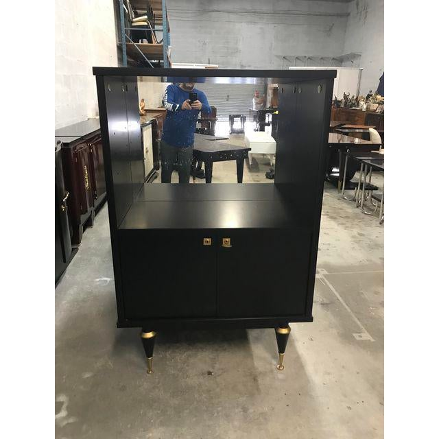 1940's French Art Deco Ebonized Dry Bar Cabinet For Sale - Image 9 of 13