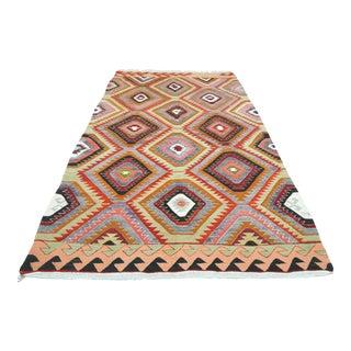 Vintage Oriental Kilim Handwoven Flatweave Rug For Sale
