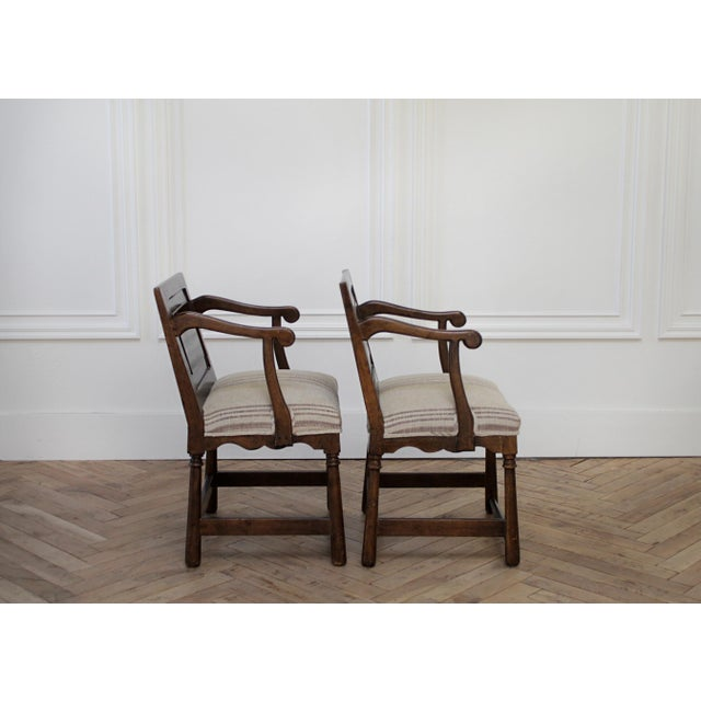 Pair of Fruitwood Carved and Upholstered Arm Chairs For Sale - Image 4 of 13