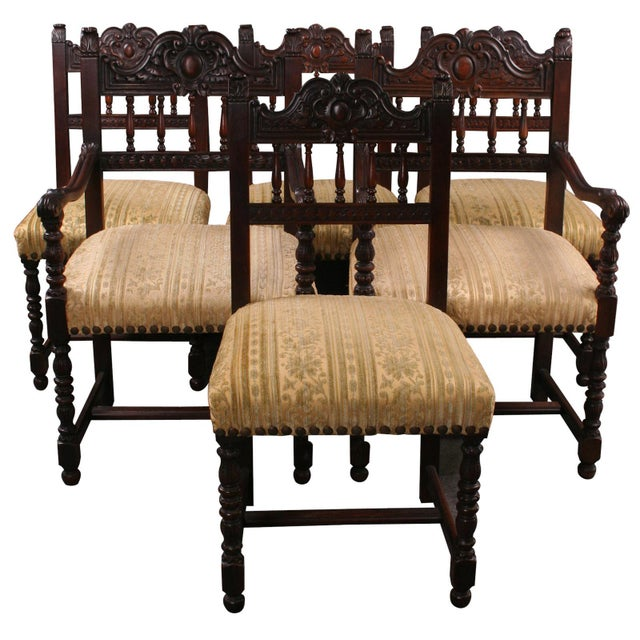 Antique Renaissance Dining Chairs - Set of 6 - Image 1 of 8