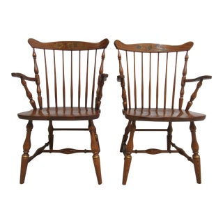 Oak Hitchcock Windsor Armchairs - A Pair