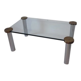 1970s Chrome Brass and Plate Glass Coffee Table For Sale