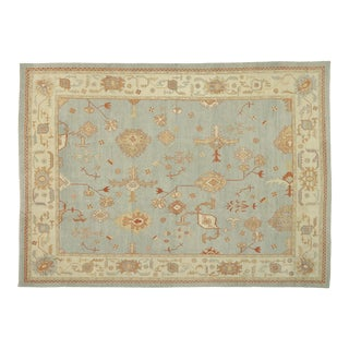 Contemporary Turkish Oushak Rug With Cape Cod Nantucket Style - 12'05 X 17'01 For Sale