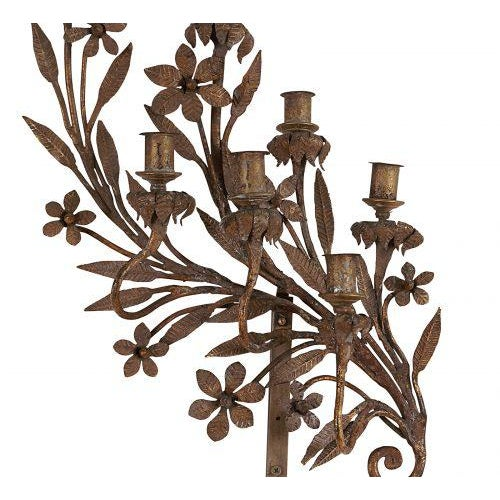 Hollywood Regency Spanish Wrought Iron & Gilt Candelabras - a Pair For Sale - Image 3 of 5