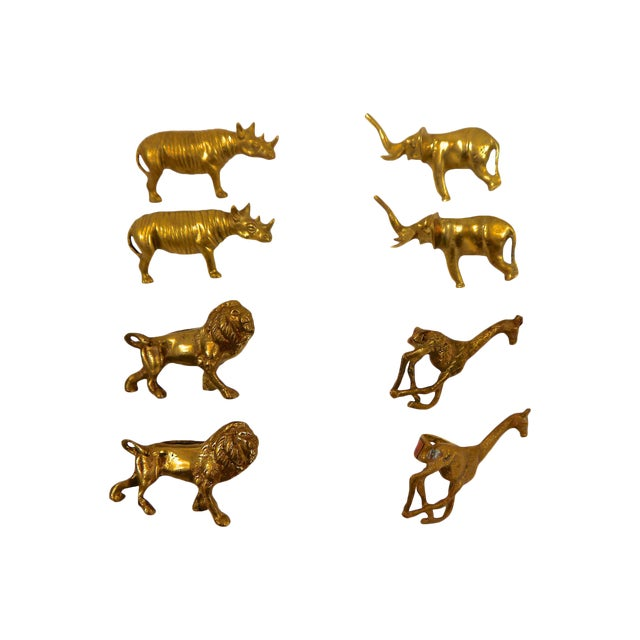 Solid Brass Animal Napkin Rings - Set of 8 For Sale