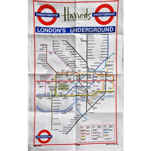 Vintage Harrod's London Underground Knightsbridge Tea Towel - Image 1 of 8