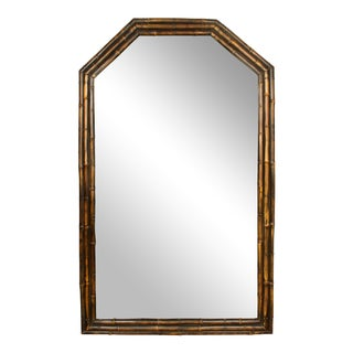 Vintage English Faux Bamboo Mirror For Sale