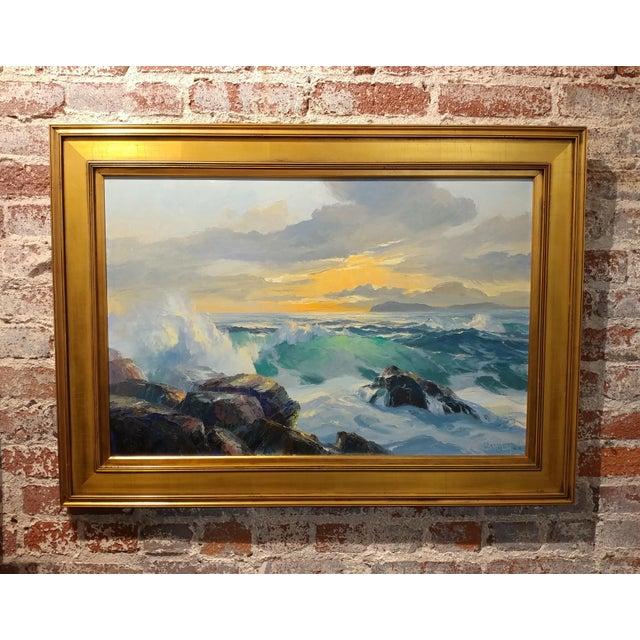 "Bennett Bradbury - California Seascape -Stunning Oil Painting on canvas oil painting on canvas -Signed size 20"" H x 30""..."