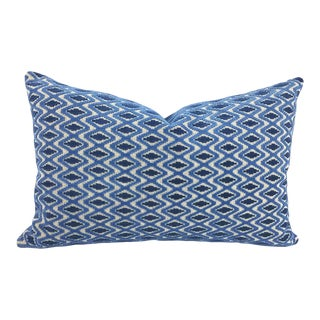 Lee Jofa Otto Trellis Blue Lumbar Pillow For Sale