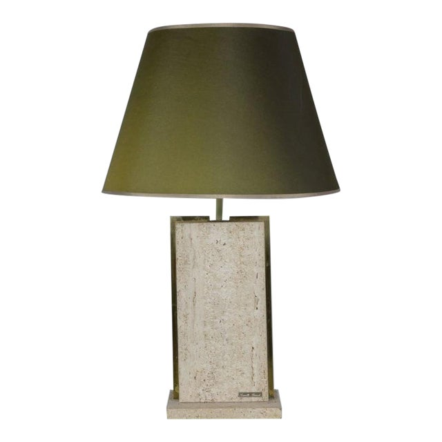 Travertine and Brass Lamp Signed by Camille Breesch, 1970s For Sale