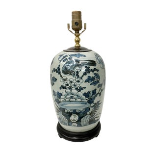 Late 19th Century Late 19th Century Chinoiserie Celadon Blue & White Porcelain Ginger Jar Table Lamp For Sale