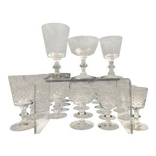 1940's Vintage Crystal Glasses- Set of 29 For Sale