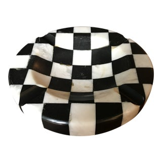 Italian Marble Checkered Ashtray For Sale