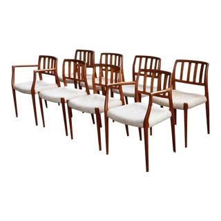 Solid Teak Orig Model #66 + #83 Niels Otto Moller Dining Chairs - Set of 8 For Sale