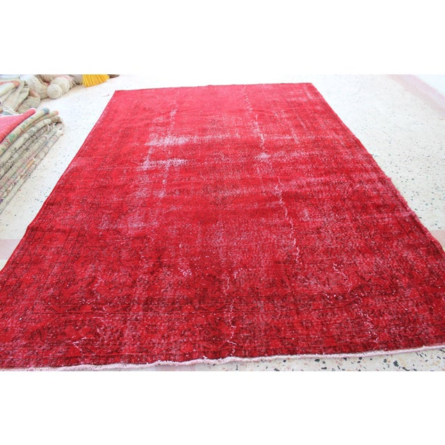 Red Overdyed Vintage Turkish Rug - 7′ × 10′10″ - Image 5 of 8
