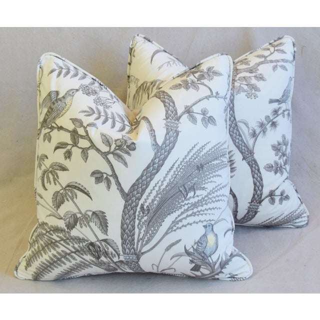 """Brunschwig & Fils Bird and Thistle Feather/Down Pillows 21"""" Square - Pair For Sale - Image 13 of 13"""