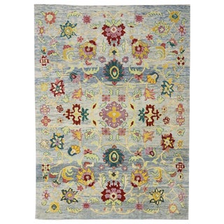 "Turkish Oushak Modern Style Area Rug - 9'7"" X 13'3"" For Sale"