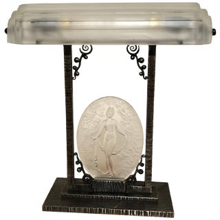 Rare Pierre D´Avesn French Art Deco Acid Etched Table Lamp For Sale