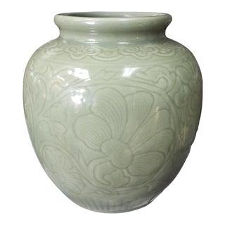 C. 1890 Chinese Celadon-Glazed Porcelain Lotus Jar For Sale