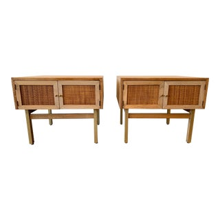 1950s Mid Century Modern Brass and Caned End Tables -a Pair For Sale