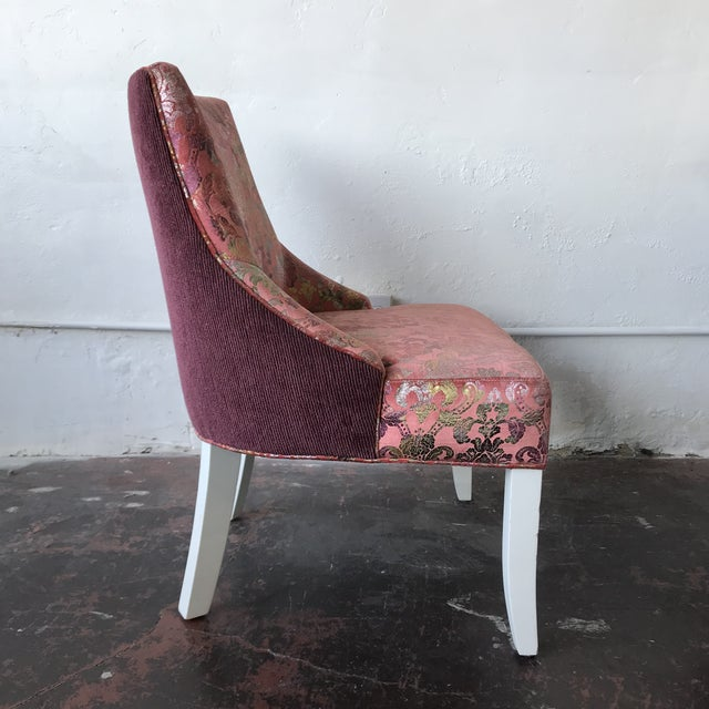2010s Vintage Pink & Rainbow Upholstered Vanity Chairs - a Pair For Sale - Image 5 of 8