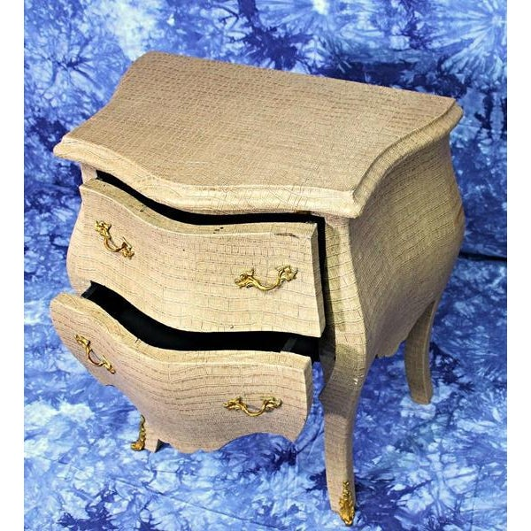 Louis XV Faux Crocodile Skin Bombe Nightstands - Image 7 of 8