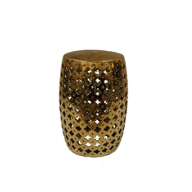 Contemporary Brass Garden Stool With Quatrefoil Cutouts For Sale - Image 3 of 3