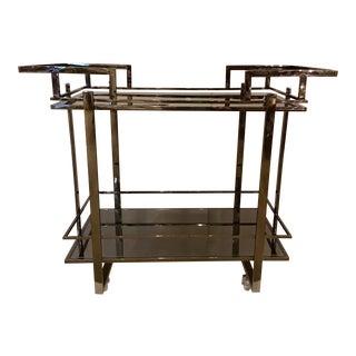 Made Goods Modern Black Steel and Mirror Camden Bar Cart For Sale